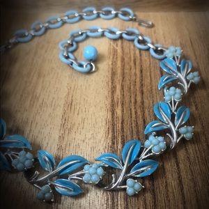 Vintage Coro Blue Flower Pegasus Necklace